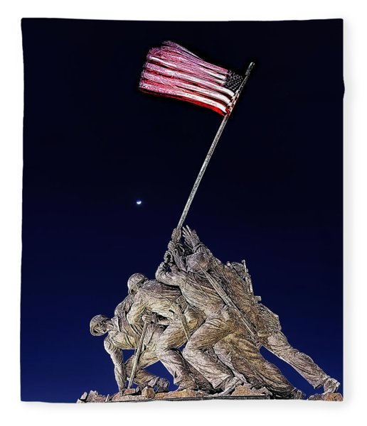 Digital Drawing - Iwo Jima Memorial At Dusk Fleece Blanket