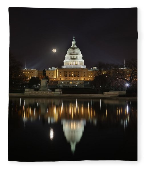 Digital Liquid - Full Moon At The Us Capitol Fleece Blanket