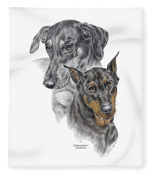 Dober-friends - Doberman Pinscher Portrait Color Tinted Fleece Blanket
