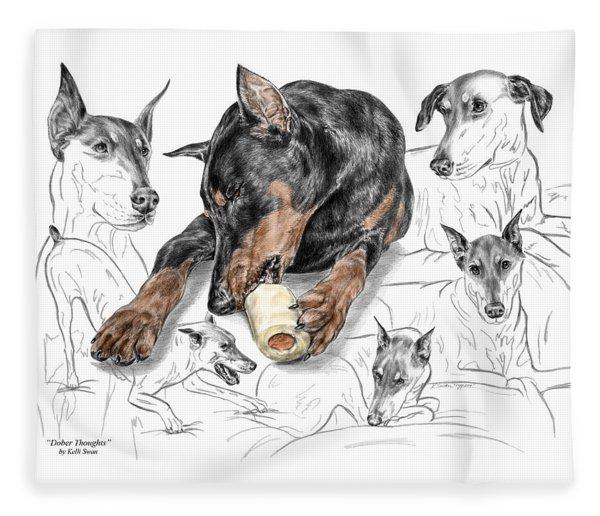 Dober-thoughts - Doberman Pinscher Montage Print Color Tinted Fleece Blanket