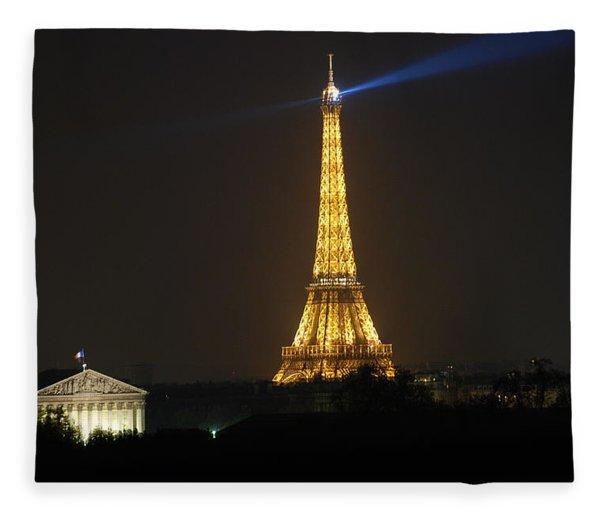 Eiffel Tower At Night Fleece Blanket