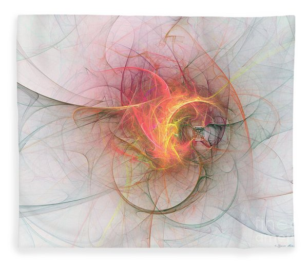 Fleece Blanket featuring the digital art Electric Blossom by Sipo Liimatainen