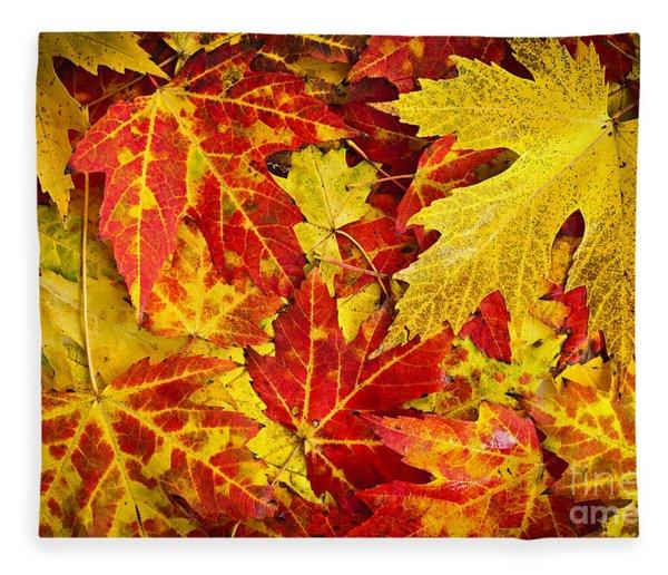 Fallen Autumn Maple Leaves  Fleece Blanket