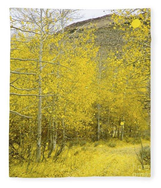 Falling Aspen Leaves Fleece Blanket