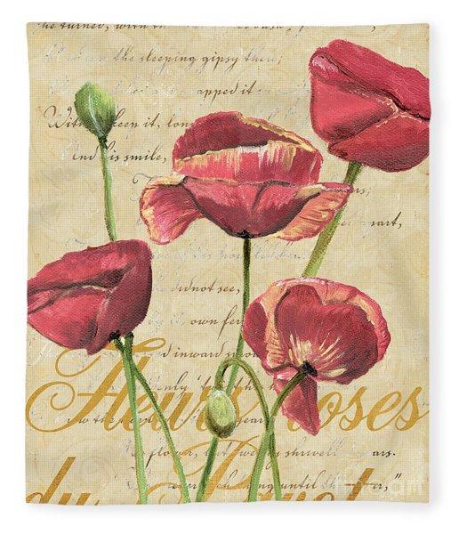French Pink Poppies 2 Fleece Blanket