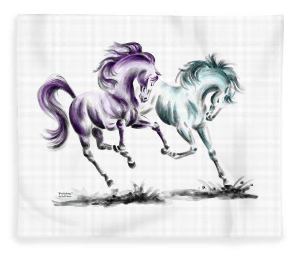 Frolicking - Wild Horses Print Color Tinted Fleece Blanket