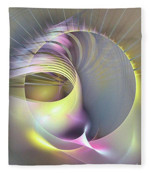 Fleece Blanket featuring the digital art Futura - Abstract Art by Sipo Liimatainen