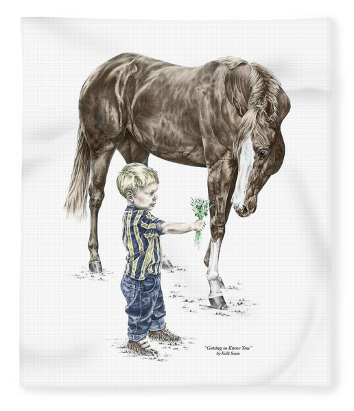 Getting To Know You - Boy And Horse Print Color Tinted Fleece Blanket