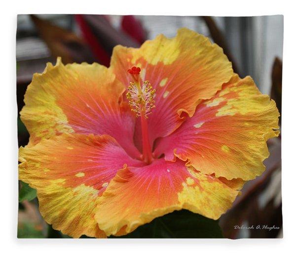 Hibiscus Yellow Fleece Blanket