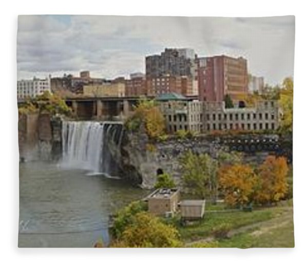 High Falls Panorama Fleece Blanket