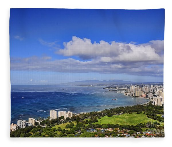 Honolulu From Diamond Head Fleece Blanket