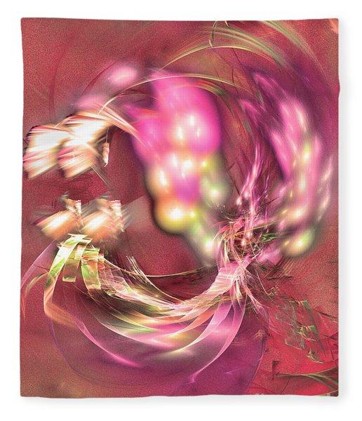 Fleece Blanket featuring the digital art Hot Season - Abstract Art by Sipo Liimatainen