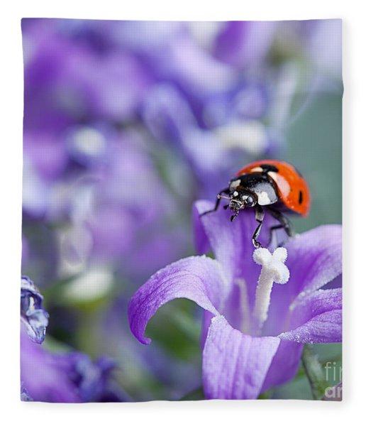 Ladybug And Bellflowers Fleece Blanket
