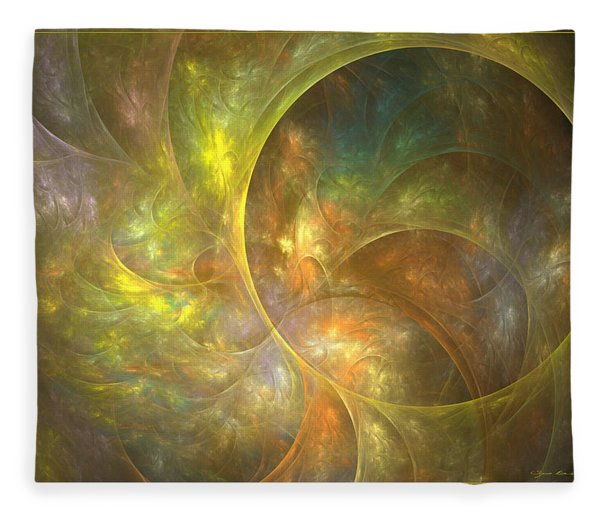 Fleece Blanket featuring the digital art Life Of Leaf - Abstract Art by Sipo Liimatainen