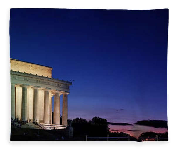 Lincoln Memorial At Sunset Fleece Blanket