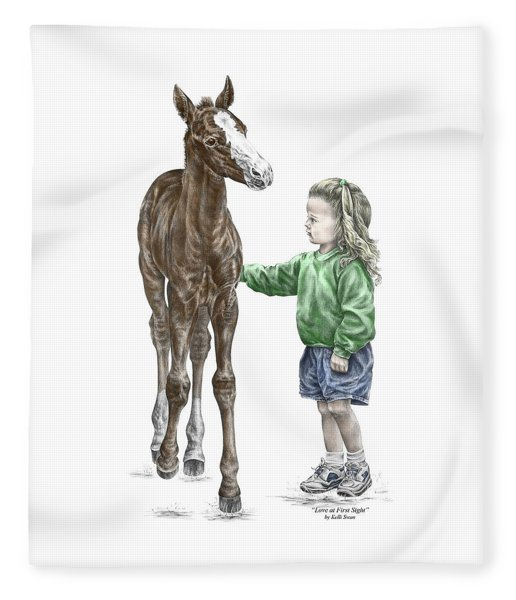 Love At First Sight - Girl And Horse Print Color Tinted Fleece Blanket