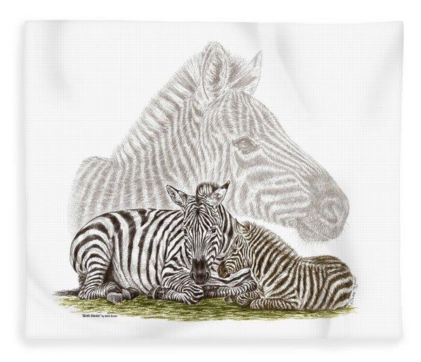 Mom And Baby Zebra Art Fleece Blanket