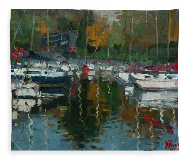 Oakville Harbour On Fleece Blanket