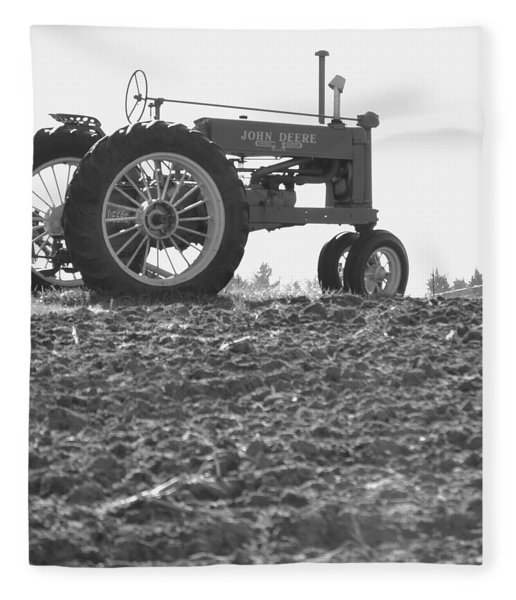 Old Tractor II In Black-and-white Fleece Blanket