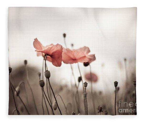 Poppy Flowers 03 Fleece Blanket