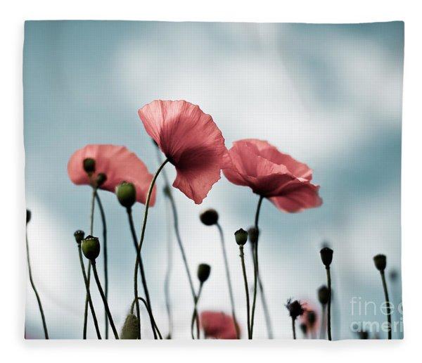 Poppy Flowers 07 Fleece Blanket