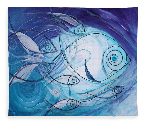Seven Ichthus And A Heart Fleece Blanket