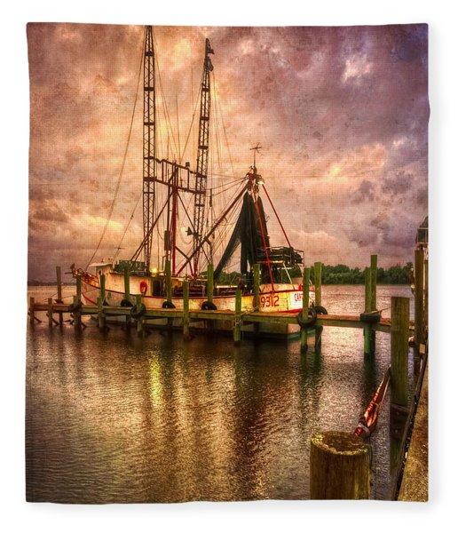 Shrimp Boat At Sunset II Fleece Blanket