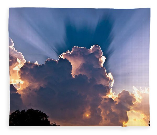 Sun Rays And Clouds Fleece Blanket