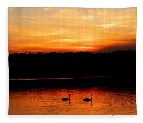 Swans In The Sunset Fleece Blanket