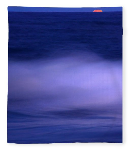The Red Moon And The Sea Fleece Blanket