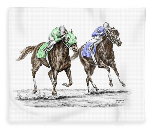 The Stretch - Tb Horse Racing Print Color Tinted Fleece Blanket