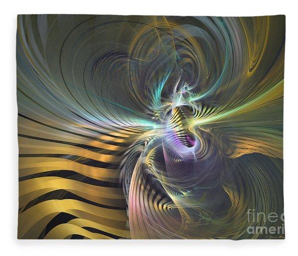 Fleece Blanket featuring the digital art The Vortex - Abstract Art by Sipo Liimatainen