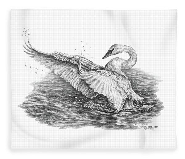White Swan - Dreams Take Flight Fleece Blanket