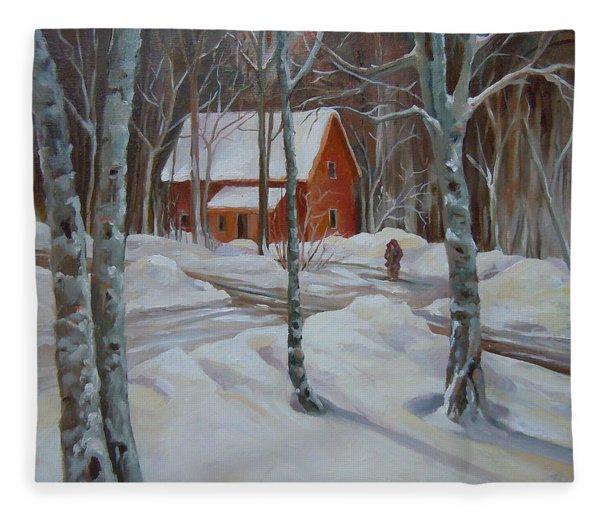 Winter In The Woods Fleece Blanket