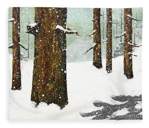 Wintering Pines Fleece Blanket