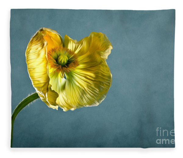 Yellow Poppy Fleece Blanket