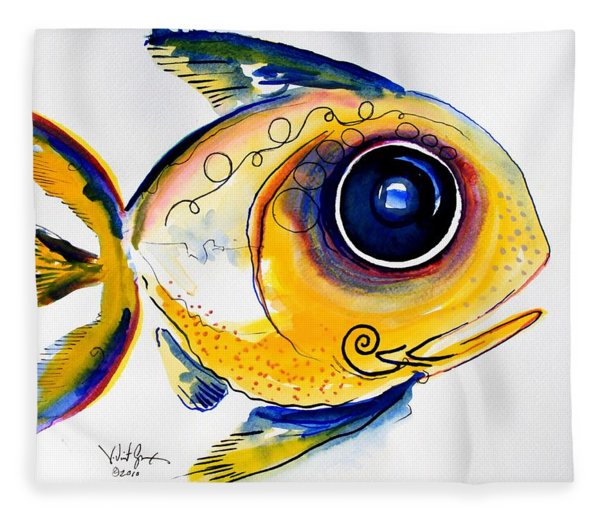 Yellow Study Fish Fleece Blanket