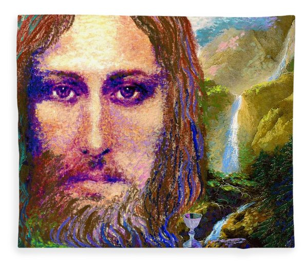 Contemporary Jesus Painting, Chalice Of Life Fleece Blanket