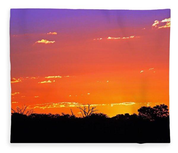 Hwange Sunset Fleece Blanket