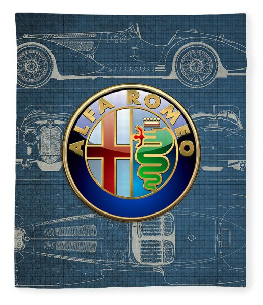 Alfa Romeo 3 D Badge Over 1938 Alfa Romeo 8 C 2900 B Vintage Blueprint Fleece Blanket