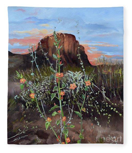 Arizona Desert Flowers-dwarf Indian Mallow Fleece Blanket