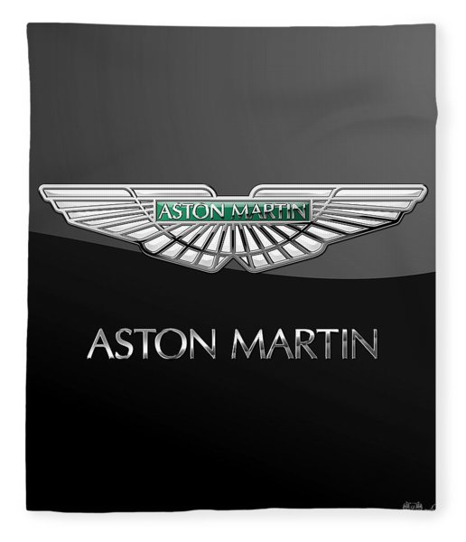 Aston Martin 3 D Badge On Black  Fleece Blanket