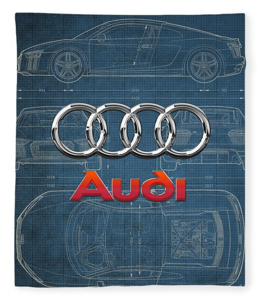 Audi 3 D Badge Over 2016 Audi R 8 Blueprint Fleece Blanket