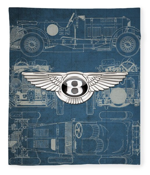 Bentley - 3 D Badge Over 1930 Bentley 4.5 Liter Blower Vintage Blueprint Fleece Blanket