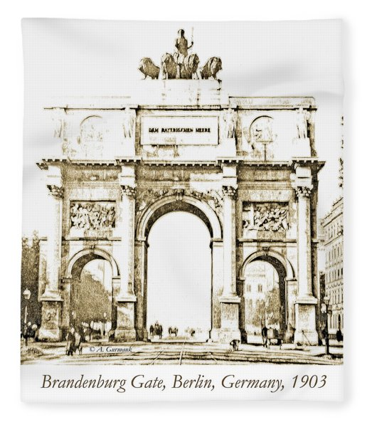 Brandenburg Gate, Berlin Germany, 1903, Vintage Image Fleece Blanket