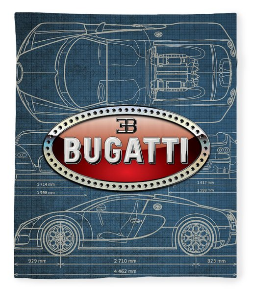 Bugatti 3 D Badge Over Bugatti Veyron Grand Sport Blueprint  Fleece Blanket