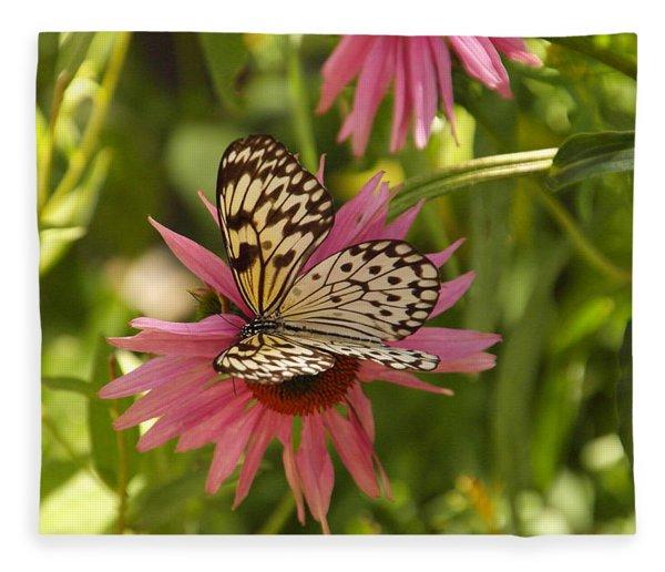 Butterfly On A Flower Fleece Blanket