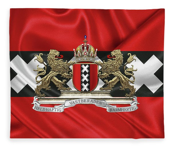 Coat Of Arms Of Amsterdam Over Flag Of Amsterdam Fleece Blanket