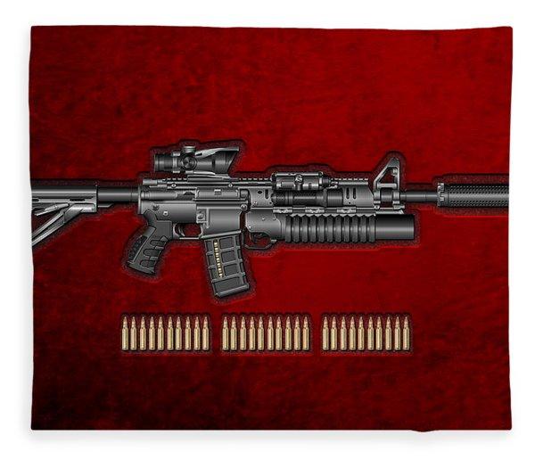 Colt  M 4 A 1  S O P M O D Carbine With 5.56 N A T O Rounds On Red Velvet  Fleece Blanket