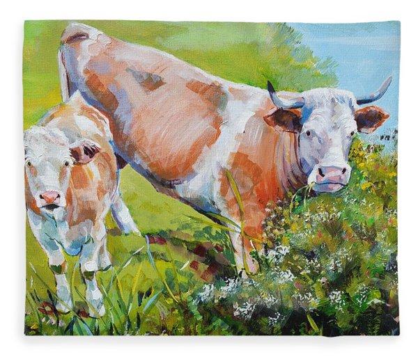 Cow And Calf Painting Fleece Blanket